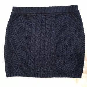 Navy Blue knit cable skirt